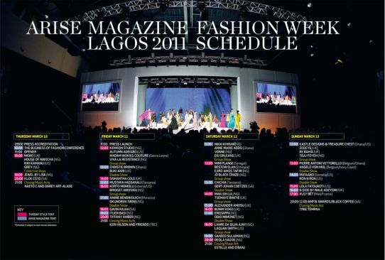 ARISE Magazine Fashion Week Schedule Arise Magazine Fashion Week Lagos 2011, Latest News!