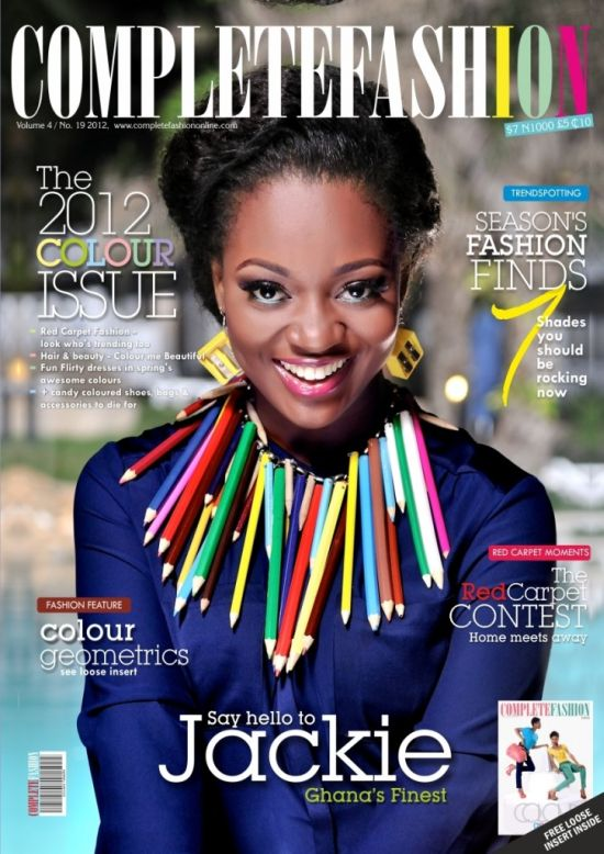 Jackie Appiah Covers Complete Fashion Magazine June Edition Pictures: Nollywoods Jackie Appiah and Comedian Basketmouth Cover Complete Fashion Magazine Latest Edition