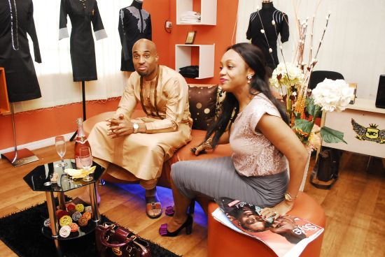 Okwudili Umenyiora CEO of Dilly Motors and his wife in the Showroom Yomi Casual Opens Celeb Styled Showroom (Pictures)