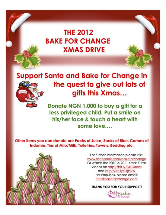Bake for Change XmasDrivePoster SAVE THE DATE: (23rd of December) Bake for Change 2012 Xmas Drive   @Bake4Change