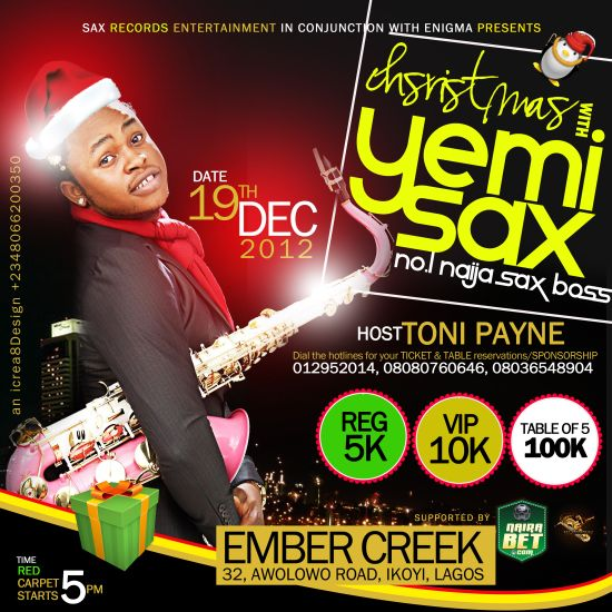 Christmas with Yemi Sax Hosted by Toni Payne 2012 SAVE THE DATE: 19th of December 2012   Christmas with Yemi Sax Hosted by Toni Payne