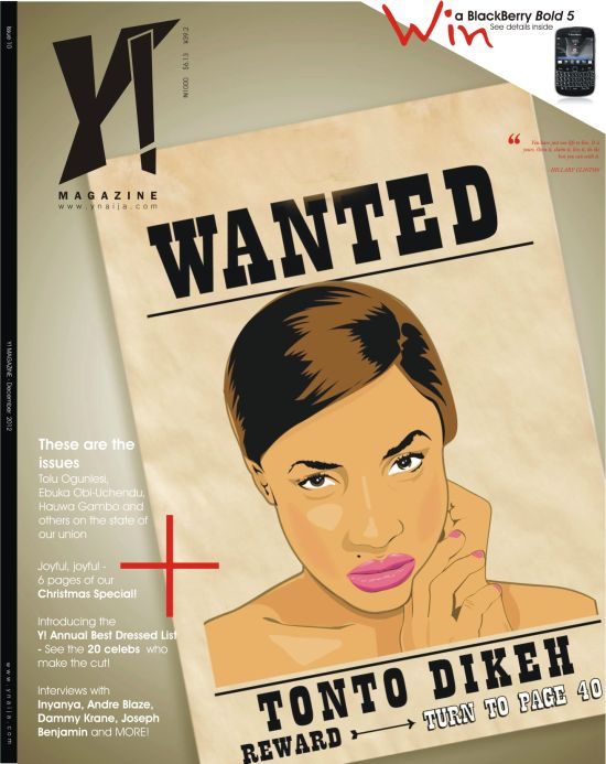 Tonto Dikeh on the cover of Y! Magazine[1]